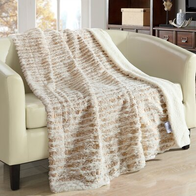 Bindi Ultra Plush Sherpa Lined Blanket Color: Beige