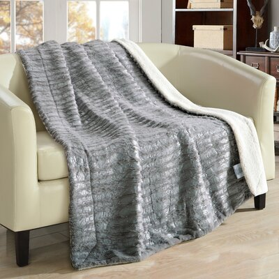 Bindi Ultra Plush Sherpa Lined Blanket Color: Gray