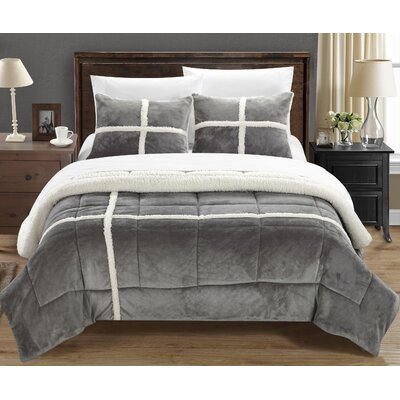 Chloe 7 Piece Comforter Set Size: King, Color: Silver