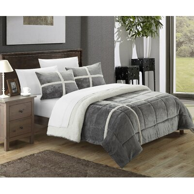 Chloe Sherpa Comforter Set Size: Twin XL, Color: Silver