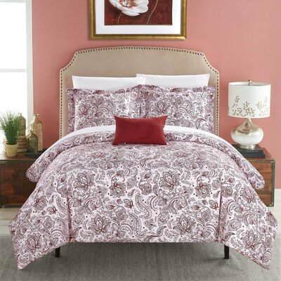 Regents Park Duvet Set Size: King, Color: Brick