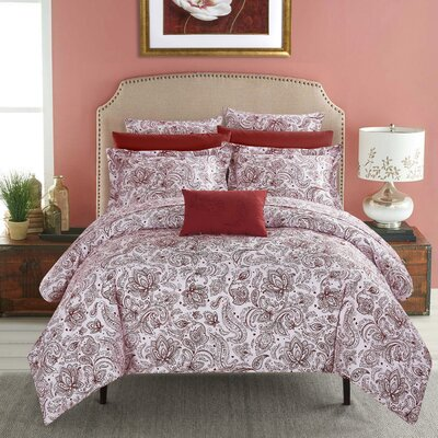 Regents Park Duvet Set Size: Queen, Color: Brick
