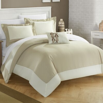 4 Piece Wynn Two Tone Reversible Duvet Cover Set Size: Twin, Color: Brown