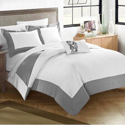 4 Piece Wynn Two Tone Reversible Duvet Cover Set Size: Queen, Color: Gray