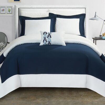 4 Piece Wynn Two Tone Reversible Duvet Cover Set Size: King, Color: Blue