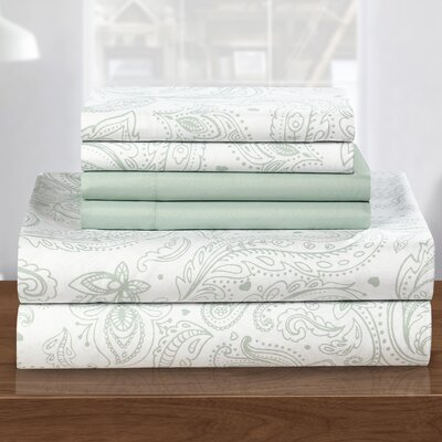 Welford 6 Piece Sheet Set Size: King, Color: Green