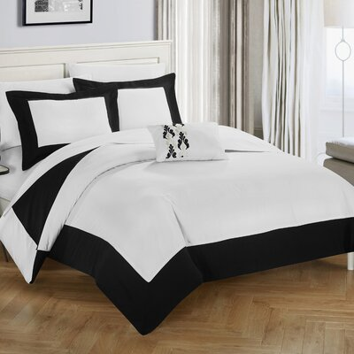 4 Piece Wynn Two Tone Reversible Duvet Cover Set Size: King, Color: Black