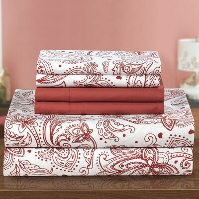 Welford 6 Piece Sheet Set Size: Twin, Color: Brick