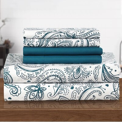 Welford 6 Piece Sheet Set Size: Twin, Color: Blue