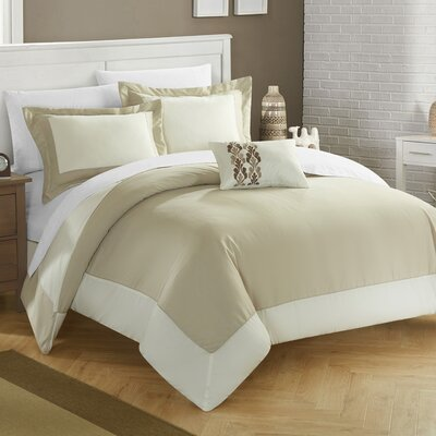 8 Piece Wynn Two Tone Reversible Duvet Cover Set Size: Queen, Color: Beige
