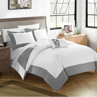8 Piece Wynn Two Tone Reversible Duvet Cover Set Size: King, Color: Gray