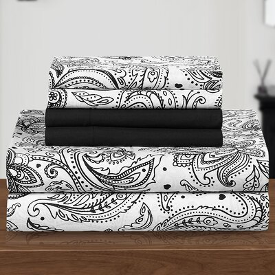 Welford 6 Piece Sheet Set Size: Twin, Color: Black