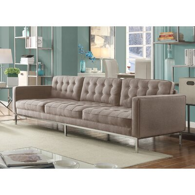 Draper Linen Modern Contemporary Button Tufted Sofa Upholstery: Taupe