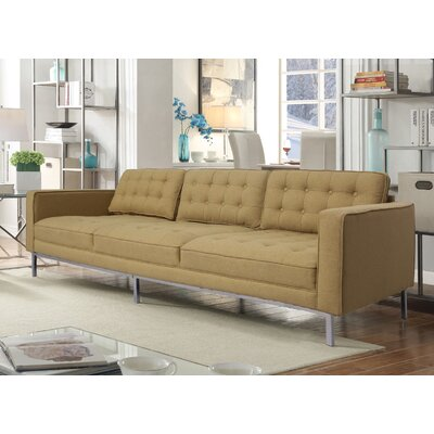 Draper Linen Modern Contemporary Button Tufted Sofa Upholstery: Yellow