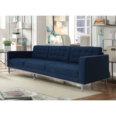 Draper Linen Modern Contemporary Button Tufted Sofa Upholstery: Blue