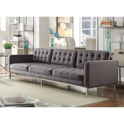 Draper Linen Modern Contemporary Button Tufted Sofa Upholstery: Gray
