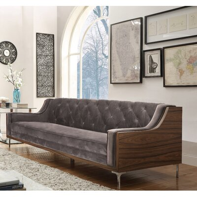 Clark Velvet sofa Upholstery: Light Gray