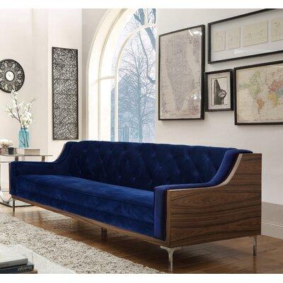 Clark Velvet sofa Upholstery: Navy Blue