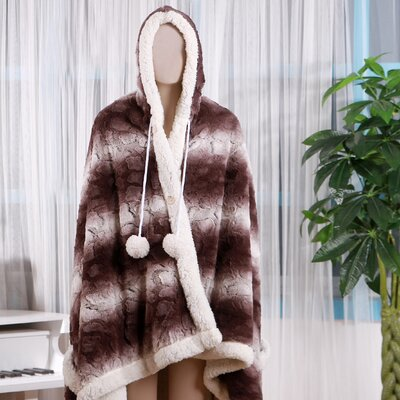Shady Ultra Plush Sherpa Lined Snuggle Up Animal Print Hoodie Wearable Blanket