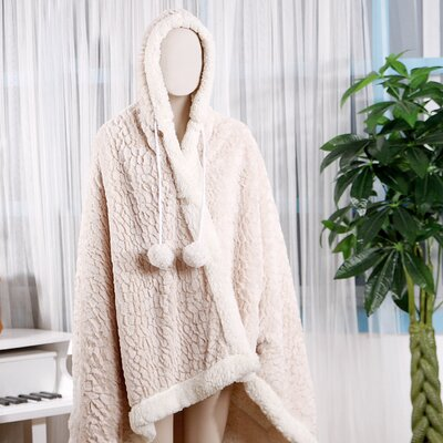 Mosaic Ultra Plush Sherpa Lined Snuggle Up Animal Print Hoodie Wearable Blanket