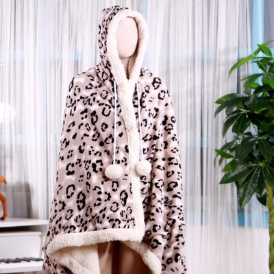 Leopard Ultra Plush Sherpa Lined Snuggle Up Animal Print Hoodie Wearable Blanket Color: Black