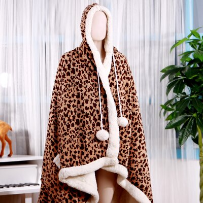 Leopard Ultra Plush Sherpa Lined Snuggle Up Animal Print Hoodie Wearable Blanket Color: Brown