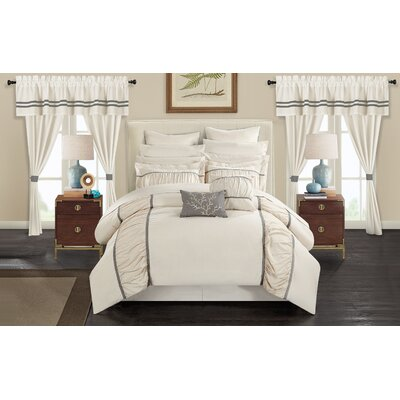 Mayan 24 Piece Bed in a Bag Set Size: Queen, Color: Beige