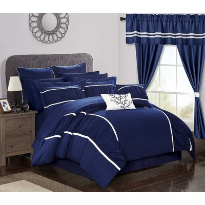 Mayan 24 Piece Bed in a Bag Set Size: Queen, Color: Navy