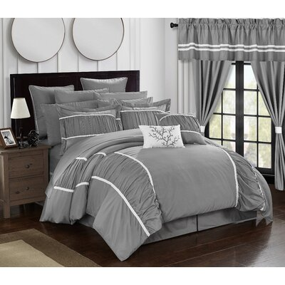 Mayan 24 Piece Bed in a Bag Set Size: King, Color: Gray