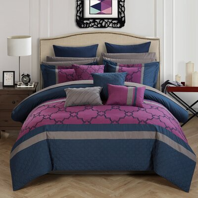 Camilia 16 Piece Bed in a Bag Set Size: Queen, Color: Navy