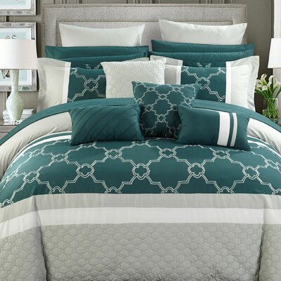Camilia 16 Piece Bed in a Bag Set Size: Queen, Color: Teal