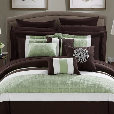 Pisa 16 Piece Reversible Bed in a Bag Set Size: Queen, Color: Brown