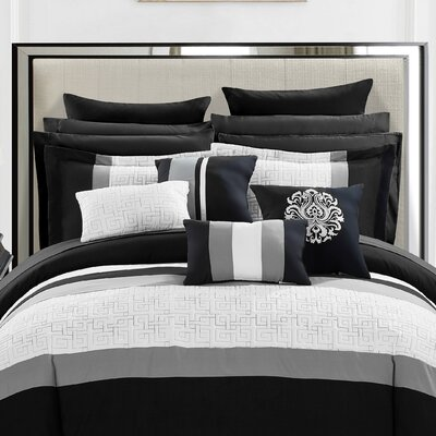 Pisa 16 Piece Reversible Bed in a Bag Set Size: Queen, Color: Black