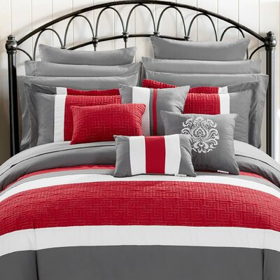Pisa 16 Piece Reversible Bed in a Bag Set Size: Queen, Color: Red