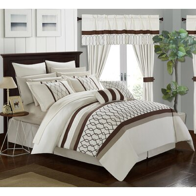 Dinah 24 Piece Bed in a Bag Set Size: King, Color: Beige