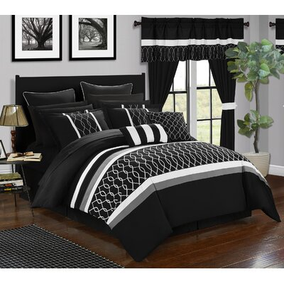 Dinah 24 Piece Bed in a Bag Set Size: Queen, Color: Black