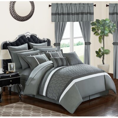 Dinah 24 Piece Bed in a Bag Set Size: King, Color: Gray