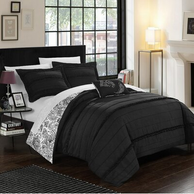 Eliza Reversible Duvet Cover Set Size: Twin, Color: Black