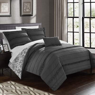 Eliza Reversible Duvet Cover Set Size: Queen, Color: Gray
