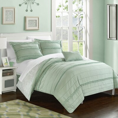 Eliza Reversible Duvet Cover Set Size: Queen, Color: Green