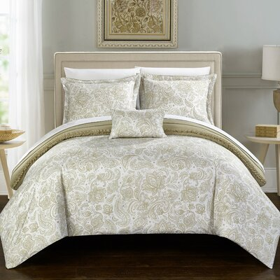 Eliza Reversible Duvet Cover Set Size: Twin, Color: Beige