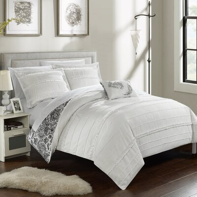 Eliza Reversible Duvet Cover Set Size: King, Color: White