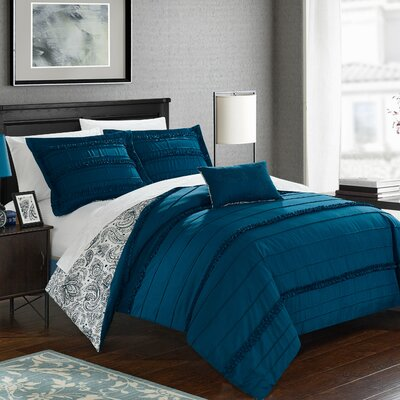 Eliza Reversible Duvet Cover Set Size: Queen, Color: Navy