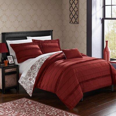 Eliza Reversible Duvet Cover Set Size: Twin, Color: Brick