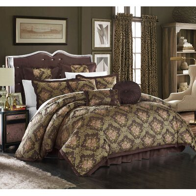Le Mans 9 Piece Comforter Set Size: King, Color: Brown