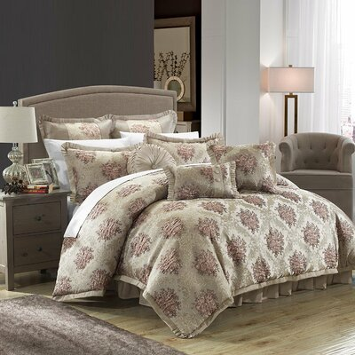 Le Mans 9 Piece Comforter Set Color: Taupe, Size: Queen