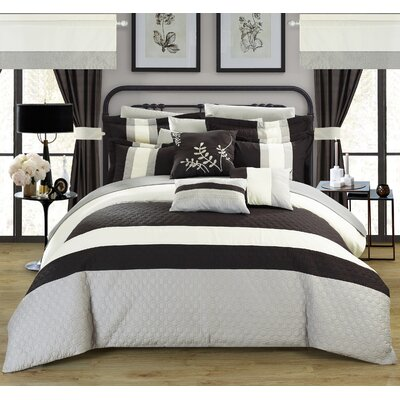 Covington 24 Piece Bed in a Bag Set Color: Black, Size: Queen