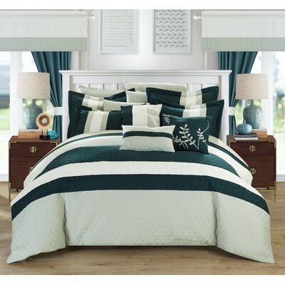Covington 24 Piece Bed in a Bag Set Color: Teal, Size: Queen