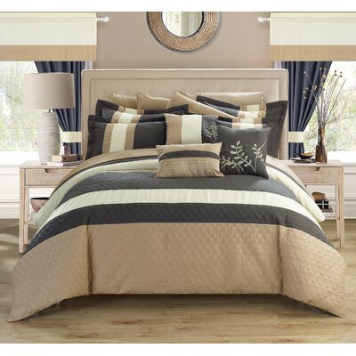 Covington 24 Piece Bed in a Bag Set Color: Gray, Size: King