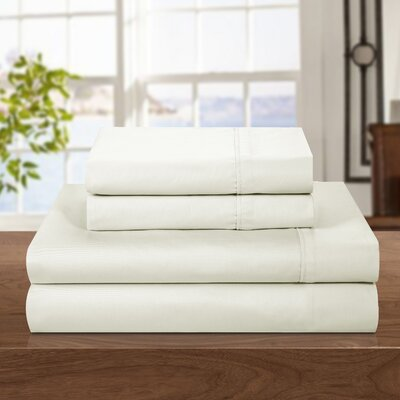 500 Thread Count 100% Cotton Sheet Set Color: Off-White, Size: Queen